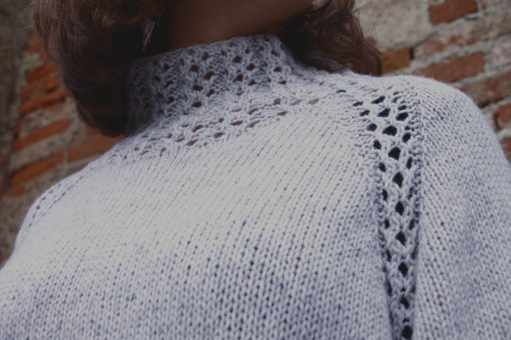 Monday pattern #11 recycled wool top down sweater